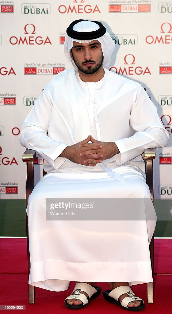 Sheikh Majid bin Mohammed bin Rashid al Maktoum looks on during prize giving after the final round of the Omega Dubai Desert Classic at Emirates Golf Club on February 3, 2013 in Dubai, United Arab Emirates.