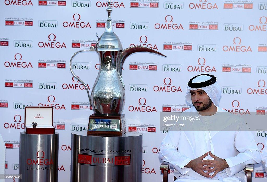 Sheikh Majid bin Mohammed bin Rashid al Maktoum looks on during prize giving after the final round of the Omega Dubai Desert Classic at Emirates Golf Club on February 3, 2013 in Dubai, United Arab Emirates.