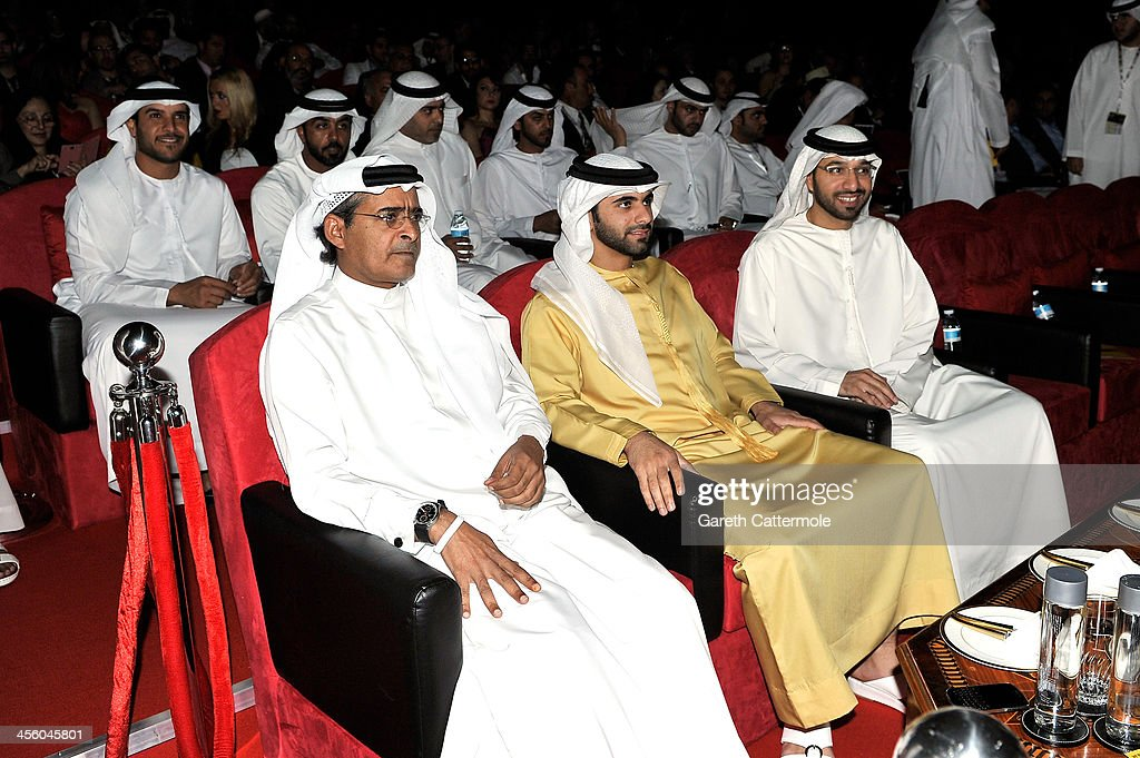 Sheikh Mansoor bin Mohammed bin Rashid Al Maktoum (C) and DIFF Chairman Abdulhamid Juma (L) ahead of the Muhr Awards during day eight of the 10th Annual Dubai International Film Festival held at the Madinat Jumeriah Complex on December 13, 2013 in Dubai, United Arab Emirates.