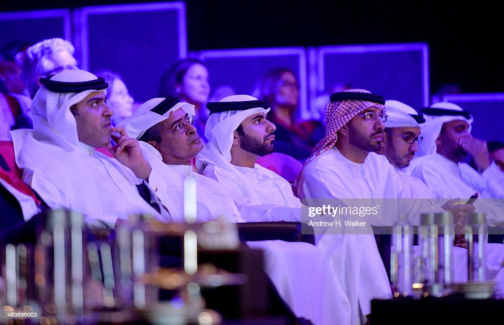 Sheikh Mansoor bin Mohammed bin Rashid Al Maktoum (C), DIFF Chairman Abdulhamid Juma (second left) and guests attend the Cinematic Innovation Summit ahead of the 10th Annual Dubai International Film Festival at Atlantis, The Palm Hotel on December 12, 2013 in Dubai, United Arab Emirates.