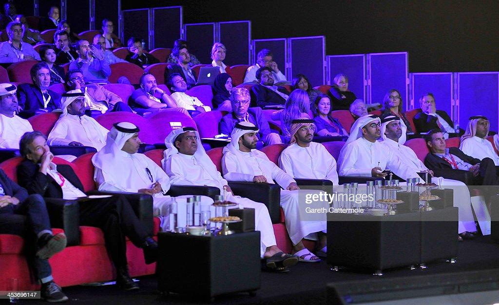 Sheikh Mansoor bin Mohammed bin Rashid Al Maktoum (C), DIFF Chairman Abdulhamid Juma (third left) and guests attend the Cinematic Innovation Summit ahead of the 10th Annual Dubai International Film Festival at Atlantis, The Palm Hotel on December 12, 2013 in Dubai, United Arab Emirates.