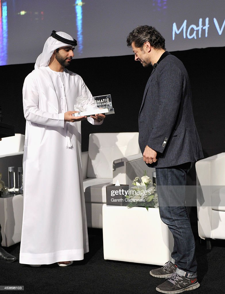 Sheikh Mansoor bin Mohammed bin Rashid Al Maktoum presents Andy Serkis with the 2013 Cinematic Innovation award during the Cinematic Innovation Summit ahead of the 10th Annual Dubai International Film Festival at Atlantis, The Palm Hotel on December 12, 2013 in Dubai, United Arab Emirates.