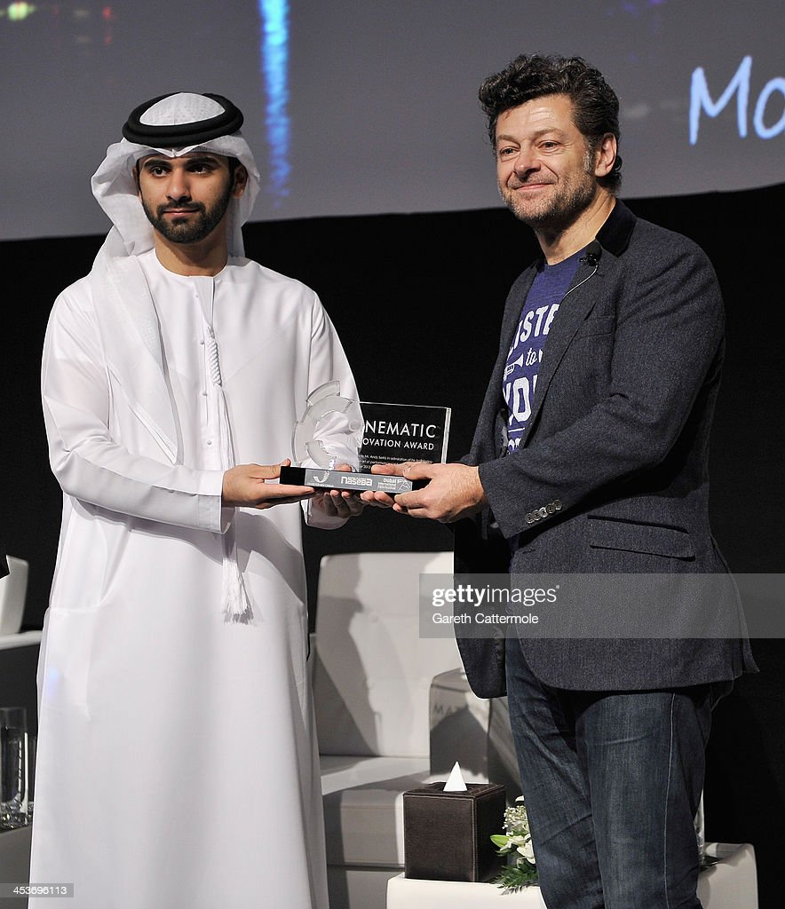 Sheikh Mansoor bin Mohammed bin Rashid Al Maktoum presents Andy Serkis with the 2013 Cinematic Innovation award during the Cinematic Innovation Summit ahead of the 10th Annual Dubai International Film Festival at Atlantis, The Palm Hotel on December 12, 2013 in Dubai, United Arab Emirates.