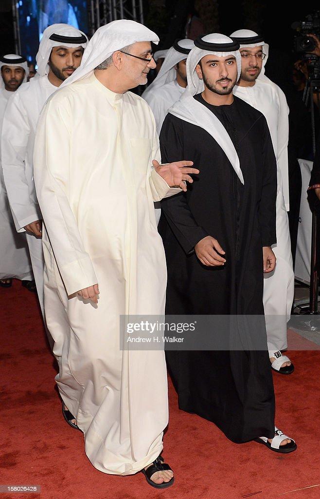 Sheikh Mansour bin Mohammed bin Rashid al-Maktoum (R) with Artistic Director of DIFF Masoud Amralla Al Ali attend the 'Life of PI' Opening Gala during day one of the 9th Annual Dubai International Film Festival held at the Madinat Jumeriah Complex on December 9, 2012 in Dubai, United Arab Emirates.
