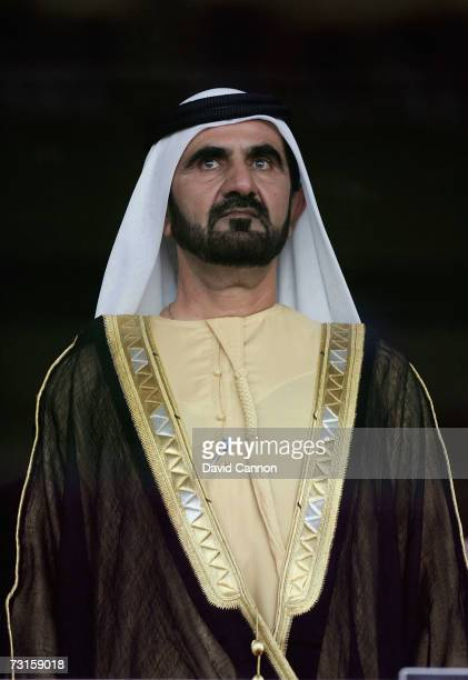 Sheikh Mohamed Bin Rashid Al Maktoum the Crown Prince and Ruler of Dubai stands during the national anthems before the final of the Arabian Gulf Cup...