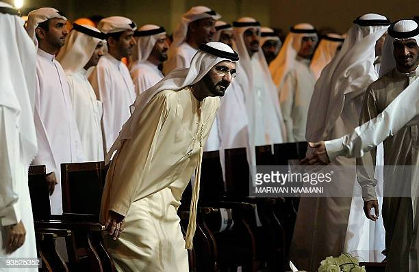 Sheikh Mohammad bin Rashed alMaktoum vice president and prime minister of the United Arab Emirates and ruler of Dubai takes a seat upon his arrival...