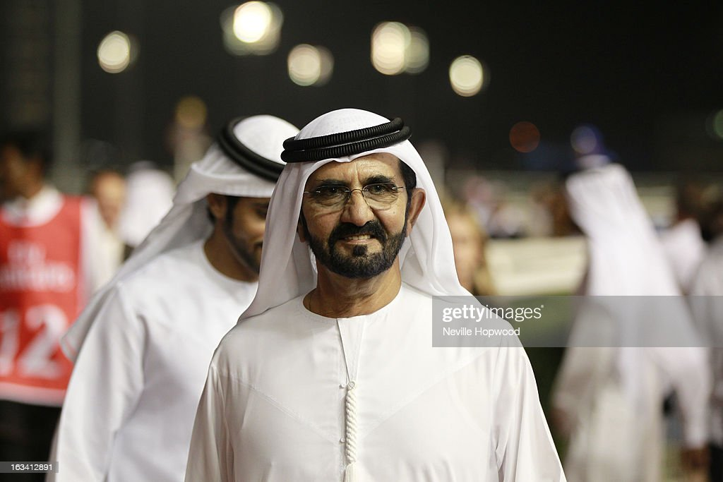 Sheikh Mohammed Al Maktoum looks on during Super Saturday at Meydan Racecourse on March 9, 2013 in Dubai, United Arab Emirates.