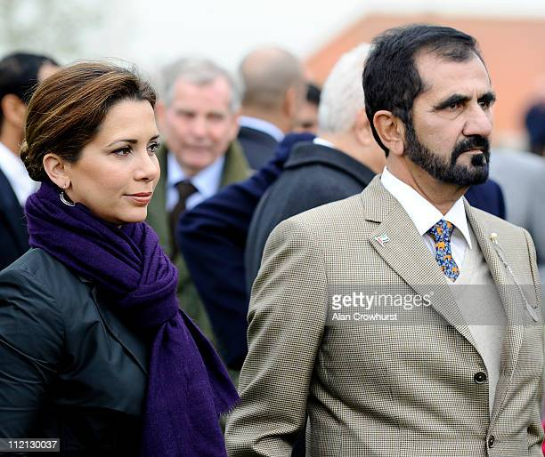 Sheikh Mohammed and his wife Princess Haya of Jordan at Newmarket racecourse on April 13 2011 in Newmarket England