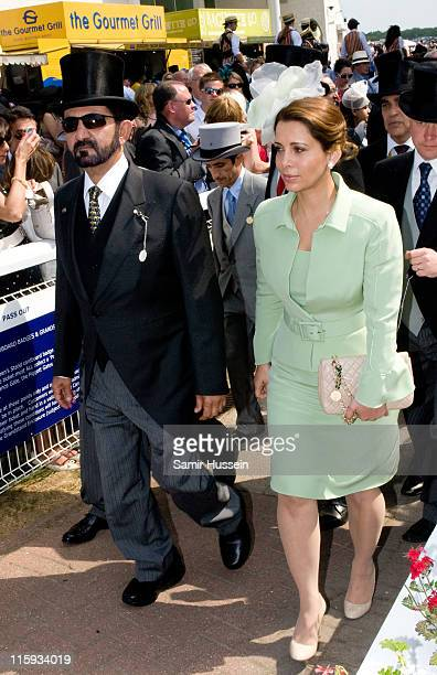 Sheikh Mohammed bin Rashed Al Maktoum and Princess Haya Bint Al Hussein attend the 2011 Epsom Derby at Epsom racecourse on June 4 2011 in Epsom...
