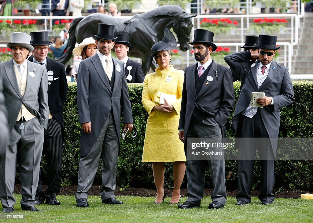 Sheikh Mohammed bin Rashid al Maktoum (second right) and guests attends Royal Ascot 2015 at Ascot racecourse on June 17, 2015 in Ascot, England.