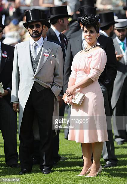 Sheikh Mohammed Bin Rashid Al Maktoum and Princess Haya bint Al Hussein in the Parade Ring on the fourth day of Royal Ascot at Ascot Racecourse on...