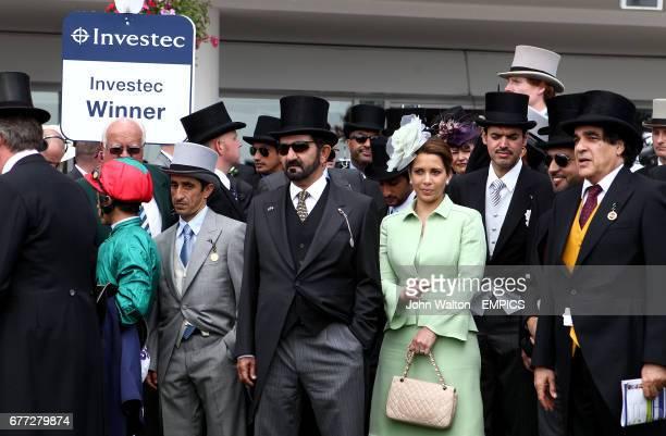 Sheikh Mohammed Bin Rashid Al Maktoum and Princess Haya Bint Al Hussein in the winner's enclosure at Epsom Downs