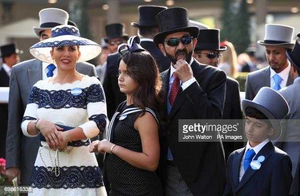 Sheikh Mohammed bin Rashid Al Maktoum and Princess Haya bint Al Hussein of Jordan with family in the winners encloser during day one of Royal Ascot...