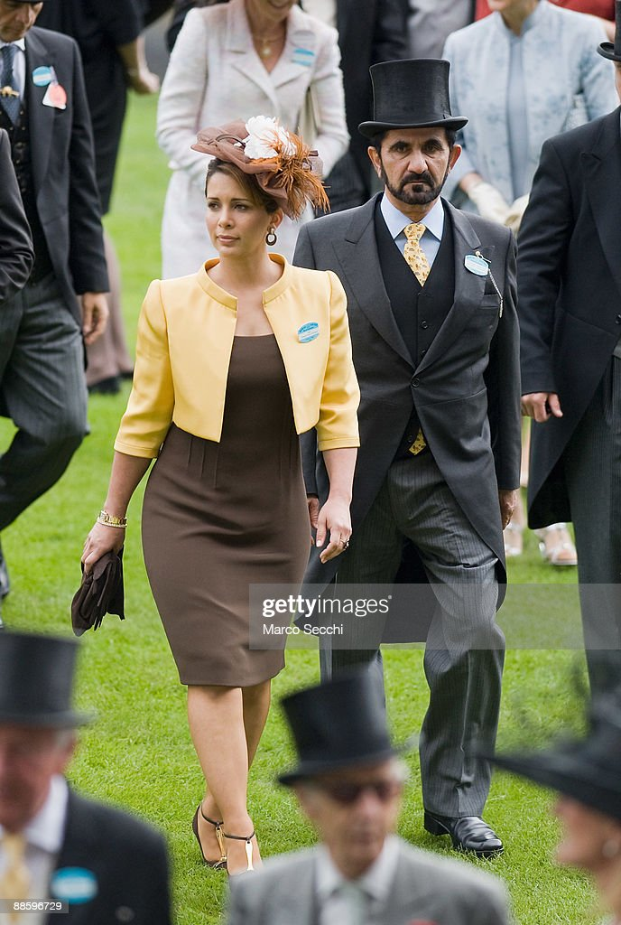 Sheikh Mohammed Bin Rashid Al Maktoum (R) and Princess Haya Bint Al Hussein of Jordan attend the fifth and final day of Royal Week at Ascot Racecourse on June 20, 2009 in Ascot, England