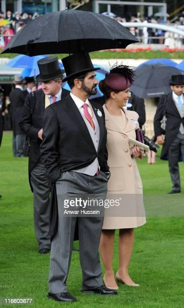 Sheikh Mohammed Bin Rashid Al Maktoum and Princess Haya Bint Al Hussein attend Ladies Day at Royal Ascot on June 16 2011 in Ascot United Kingdom