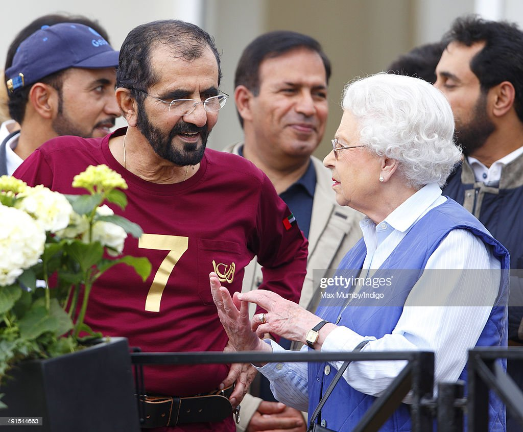 Sheikh Mohammed bin Rashid Al Maktoum and Queen <a gi-track='captionPersonalityLinkClicked' href=/galleries/search?phrase=Elizabeth+II&family=editorial&specificpeople=67226 ng-click='$event.stopPropagation()'>Elizabeth II</a> attend the Royal Windsor Endurance event on day 3 of the Royal Windsor Horse Show in Windsor Great Park on May 16, 2014 in Windsor, England.