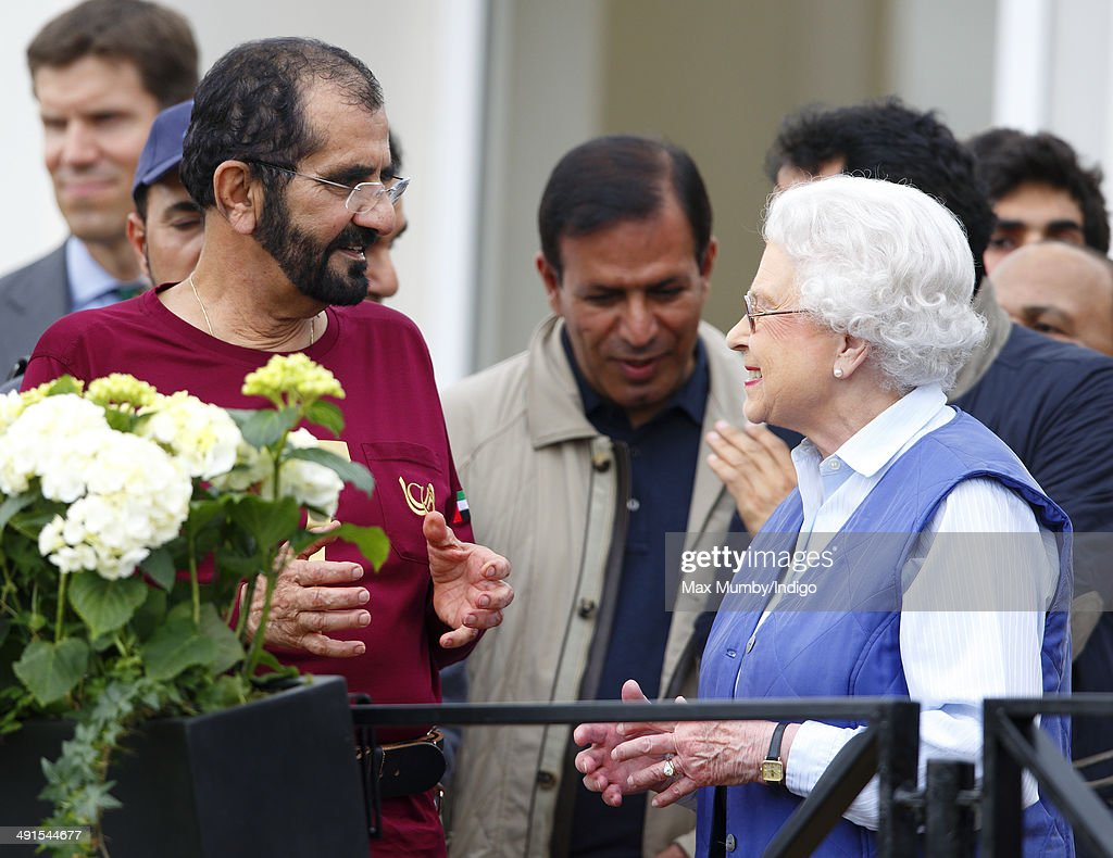 Sheikh Mohammed bin Rashid Al Maktoum and Queen Elizabeth II attend the Royal Windsor Endurance event on day 3 of the Royal Windsor Horse Show in...