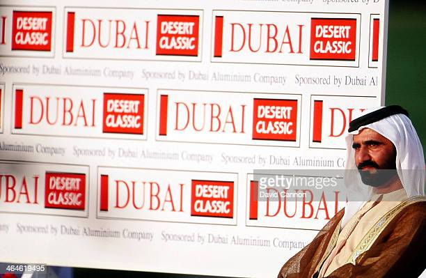 Sheikh Mohammed Bin Rashid Al Maktoum at the prize presentation during the final round of the 1994 Dubai Desert Classic on the Majilis Course at The...