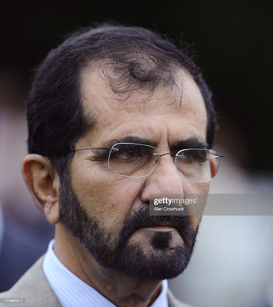 Sheikh Mohammed bin Rashid Al Maktoum is seen at Goodwood racecourse on July 31, 2013 in Chichester, England.