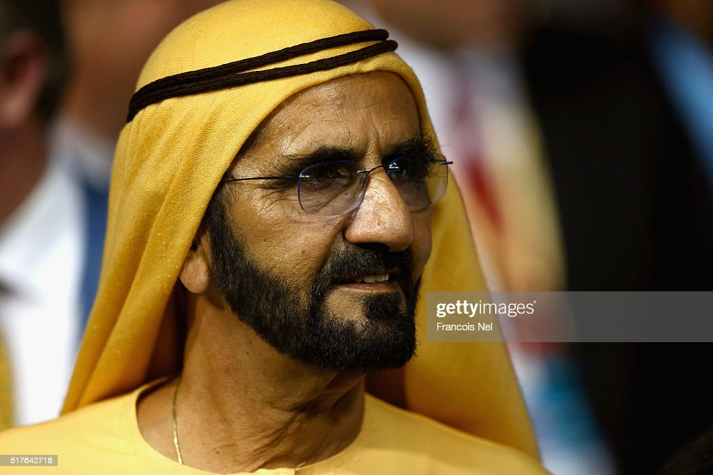 Sheikh <a gi-track='captionPersonalityLinkClicked' href=/galleries/search?phrase=Mohammed+Bin+Rashid+Al+Maktoum&family=editorial&specificpeople=658741 ng-click='$event.stopPropagation()'>Mohammed Bin Rashid Al Maktoum</a> looks on during the Dubai World Cup at the Meydan Racecourse on March 26, 2016 in Dubai, United Arab Emirates.