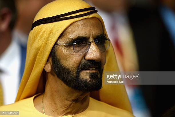 Sheikh Mohammed Bin Rashid Al Maktoum looks on during the Dubai World Cup at the Meydan Racecourse on March 26 2016 in Dubai United Arab Emirates