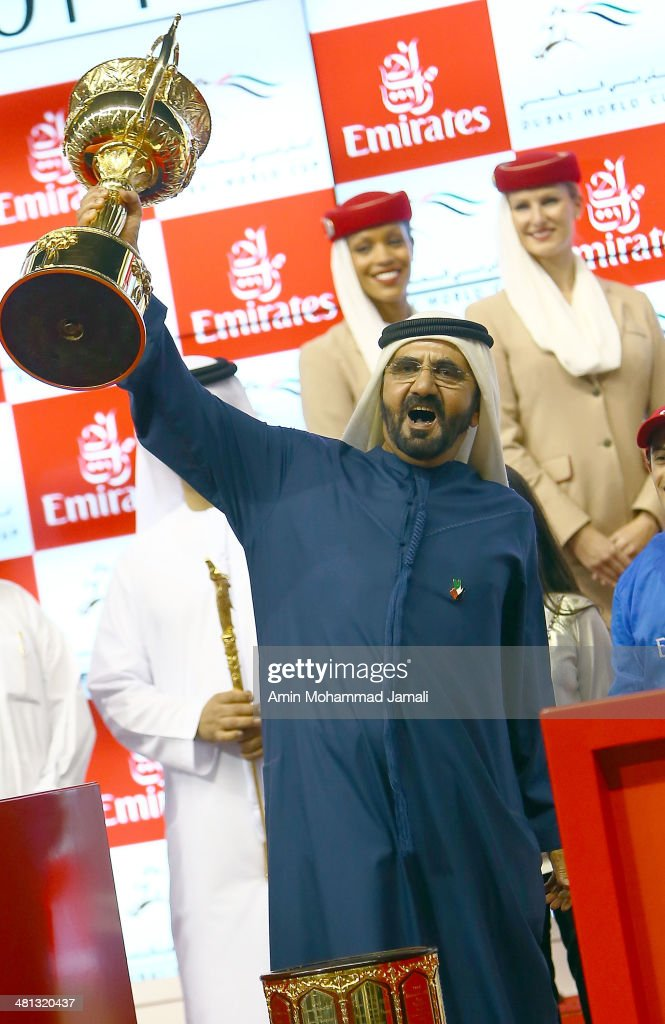 Sheikh Mohammed bin Rashid Al Maktoum, Ruler of Dubai and Vice President of the UAE rejoices after winning the Dubai World Cup with his horse African Story ridden by Silvestre De Sousa during the Dubai World Cup at the Meydan Racecourse on March 29, 2014 in Dubai, United Arab Emirates.