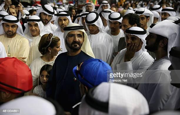 Sheikh Mohammed bin Rashid Al Maktoum Ruler of Dubai and Vice President of the UAE looks on during the Dubai World Cup at the Meydan Racecourse on...