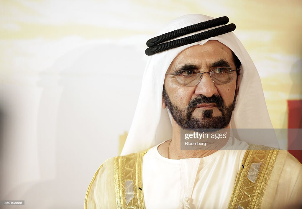 Sheikh Mohammed bin Rashid Al Maktoum, the ruler of Dubai, listens during a news conference at the 13th Dubai Airshow at Dubai World Central (DWC) in Dubai, United Arab Emirates, on Sunday, Nov. 17, 2013. The 13th edition of the biennial 2013 Dubai Airshow, the Middle East's leading aerospace event organized by F&E Aerospace. Photographer: Jason Alden/Bloomberg via Getty Images Sheikh Mohammed bin Rashid Al Maktoum