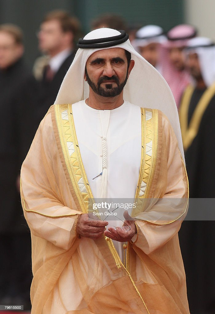 Sheikh Mohammed Bin Rashid Al Maktoum Vice President and Prime Minister of the United Arab Emirates and Ruler of Dubai arrives at the Chancellery to...