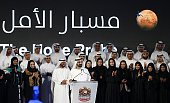 Sheikh Mohammed bin Rashid alMaktoum Prime Minister of the United Arab Emirates and ruler of Dubai speaks among engineers and scientists during a...