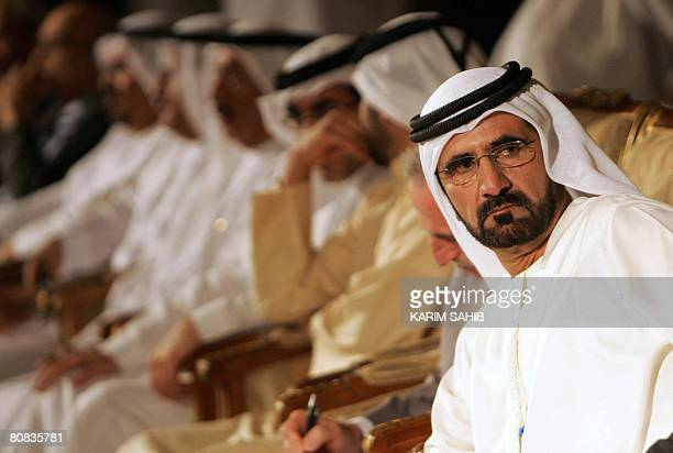 Sheikh Mohammed bin Rashid alMaktoum the Ruler of Dubai Vice president and Prime Minister of the UAE attends a session of the Arab Media Forum in the...