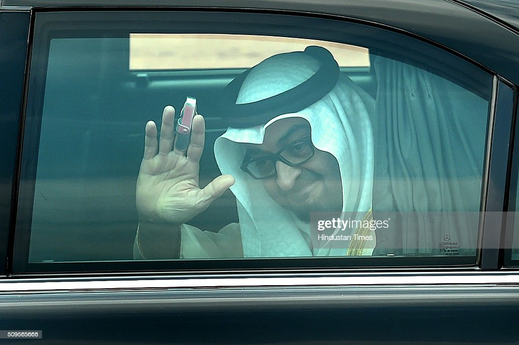 Sheikh Mohammed bin Zayed al-Nahyan, Crown Prince of Abu Dhabi and UAE's deputy commander-in-chief of the armed forces waves to Indian Prime Minister Narendra Modi (unseen) after his ceremonial reception at the forecourt of the Rashtrapati Bhawan presidential palace on February 11, 2016 in New Delhi, India. In a departure from protocol, Prime Minister Narendra Modi received Abu Dhabis Crown Prince Sheikh Mohamed bin Zayed Al Nahyan at the airport as he arrived in New Delhi for a three-day state visit. Hours after his arrival, Al Nahyan expressed his keenness to the strengthen strategic relationship between the two countries. At present, India is UAEs number one trading partner with total trade pegged at $60 billion in 2015. UAE was the sixth largest source of crude oil import for India in 2014-'15.
