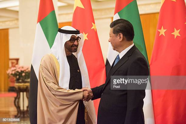 Sheikh Mohammed bin Zayed alNahyan Crown Prince of Abu Dhabi and UAE's deputy commanderinchief of the armed forces meets Chinese President Xi Jinping...