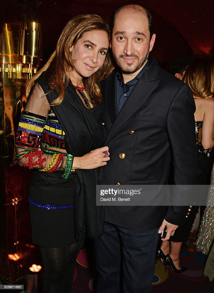 Sheikh Mohammed Youseef El Khereiji (R) and Sherine El Khereiji attend a private dinner hosted by Fawaz Gruosi, founder of de Grisogono, at Annabels on April 28, 2016 in London, England.
