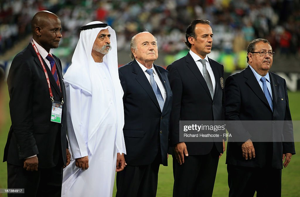 E. Sheikh Nahayan Mabarak Al Nahayan, Chairman of the LOC for the FIFA U-17 World Cup UAE 2013 and FIFA President Joseph S. Blatter stand with other dignitaries as the national anthems are played the FIFA U-17 World Cup UAE 2013 Final between Nigeria and Mexico at the Mohamed Bin Zayed Stadium on November 8, 2013 in Abu Dhabi, United Arab Emirates.