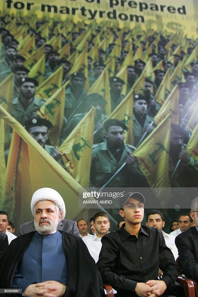 Sheikh Naim Qassim the deputy of Hezbollah's secretary general and Jihad the son of slain Hezbollah commander Imad Mughnieh attend a rally held in...