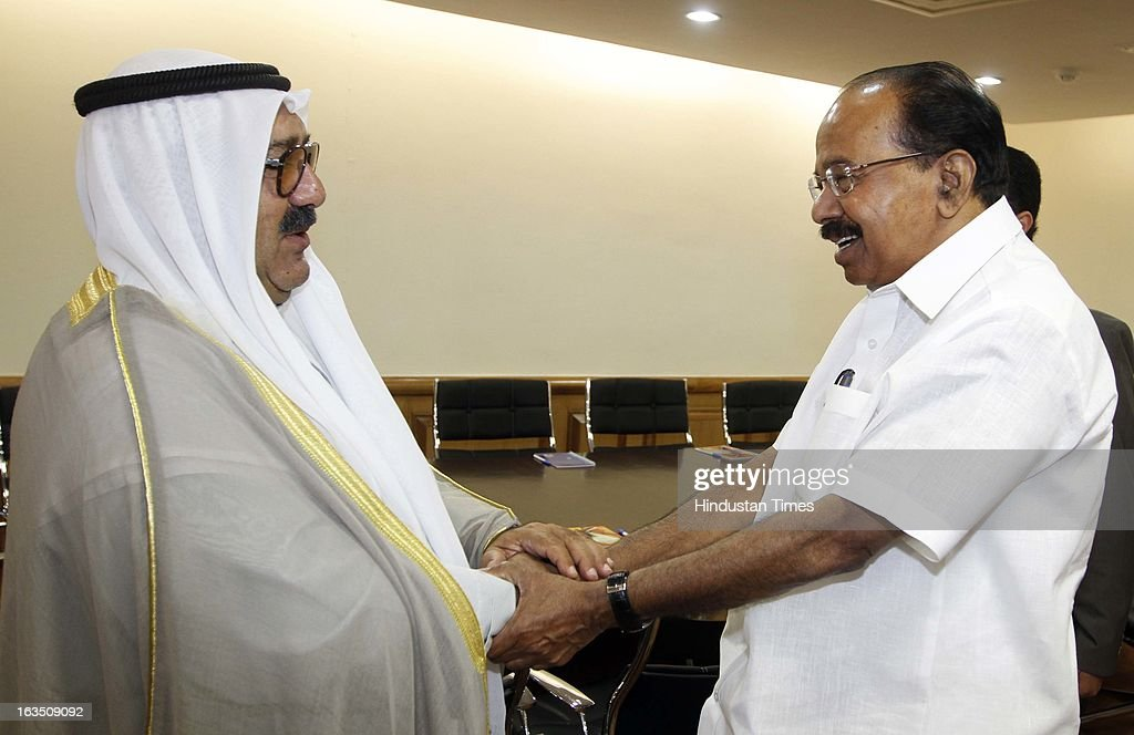 Sheikh Nasser Sabah Al-Ahmed Al-Jaber Al-Sabah Minister of Amiri Dewan Affairs of the State of Kuwait (L) with other members during the meeting with petroleum minister Veerappa Moily (R) at Shastri Bhawan on March 11, 2013 in New Delhi, India.