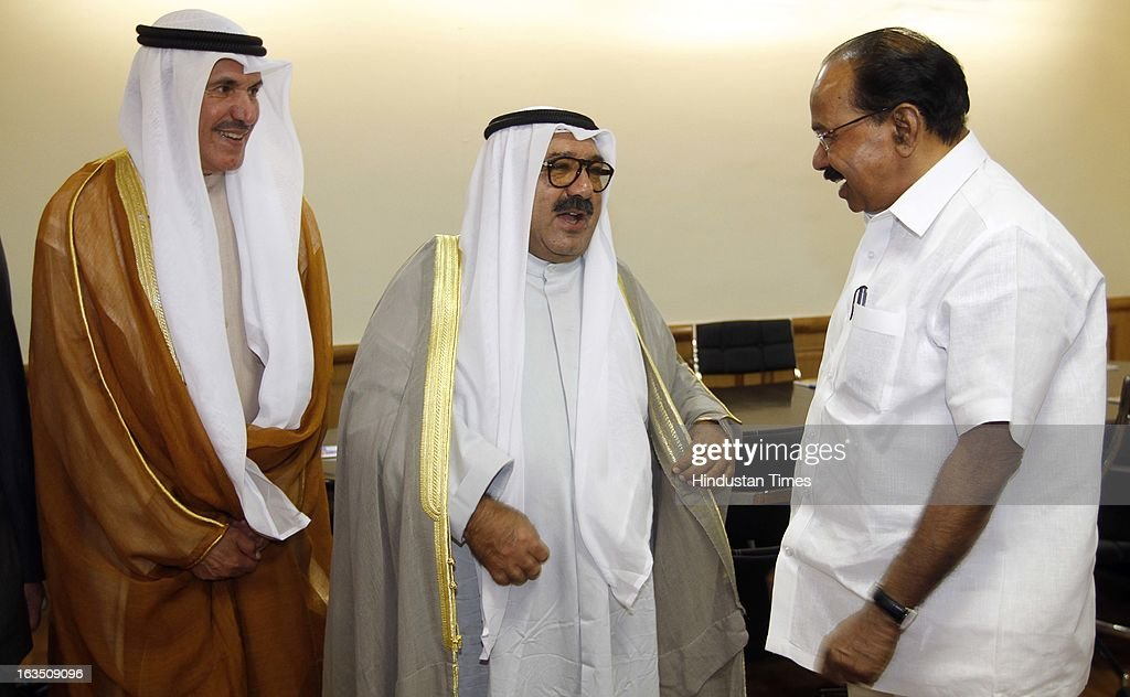 Sheikh Nasser Sabah Al-Ahmed Al-Jaber Al-Sabah Minister of Amiri Dewan Affairs of the State of Kuwait (C) with other members during the meeting with petroleum minister Veerappa Moily (R) at Shastri Bhawan on March 11, 2013 in New Delhi, India.