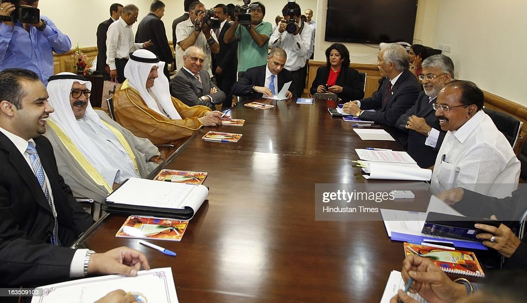 Sheikh Nasser Sabah Al-Ahmed Al-Jaber Al-Sabah Minister of Amiri Dewan Affairs of the State of Kuwait with other members during the meeting with petroleum minister Veerappa Moily at Shastri Bhawan on March 11, 2013 in New Delhi, India.