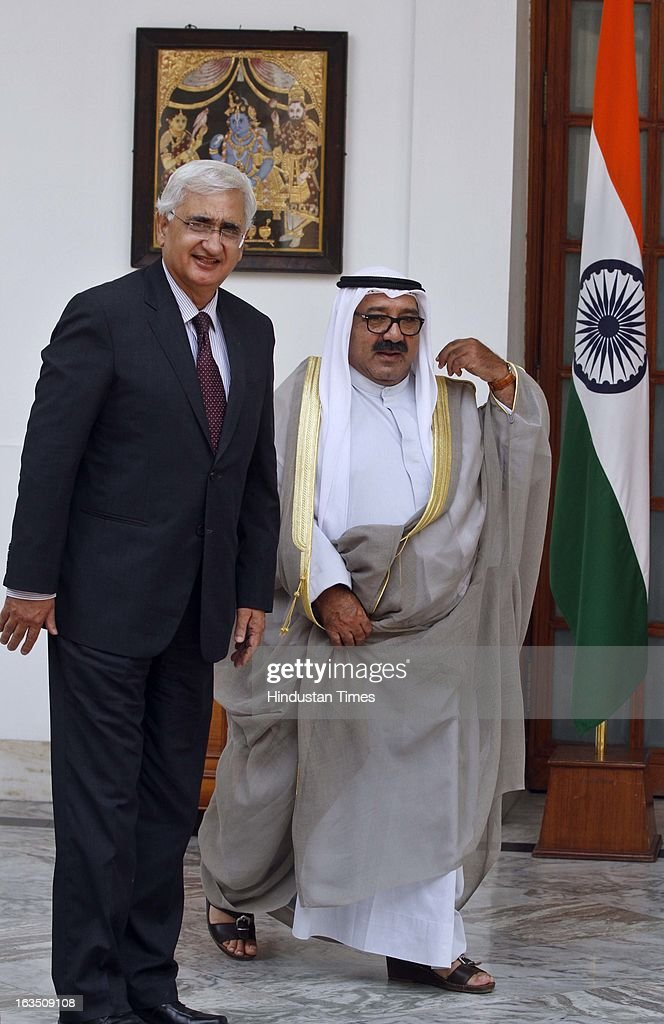 Sheikh Nasser Sabah Al-Ahmed Al-Jaber Al-Sabah Minister of Amiri Dewan Affairs of the State of Kuwait with External Affairs Minister Salman Khurshid (L) before a meeting on March 11, 2013 in New Delhi, India.