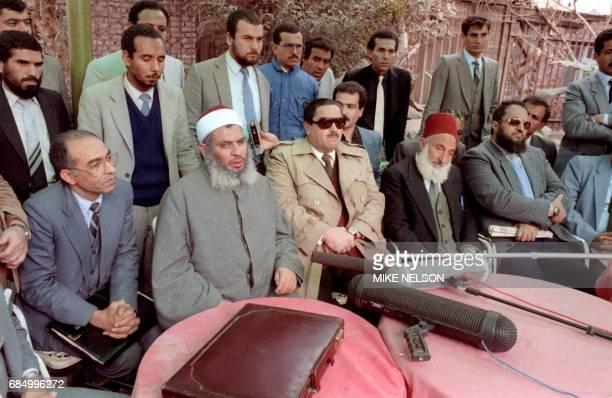 Sheikh Omar Abdel Rahman the blind spiritual leader of Egypt's largest Islamic extremist fundamentalist group Jamaa Islamiyya gives a press...