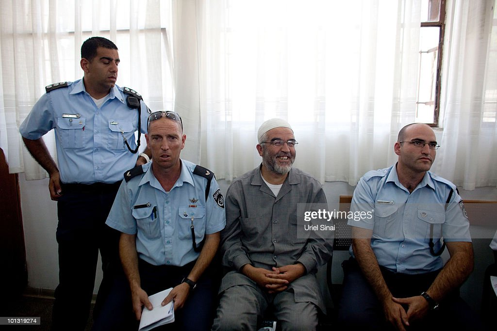 Sheikh Raed Salah, the head of the Northern Branch of the Islamic Movement in Israel, sits in Magistrates Court after he was arrested on the Gaza flotilla on June 1, 2010 in Ashkelon, Israel. Salah was interviewed by Israeli police on his role in the Gaza aid flotilla after participating in the flotilla which clashed with Israeli forces. Other members of the Arab sector are also being held in police custody.