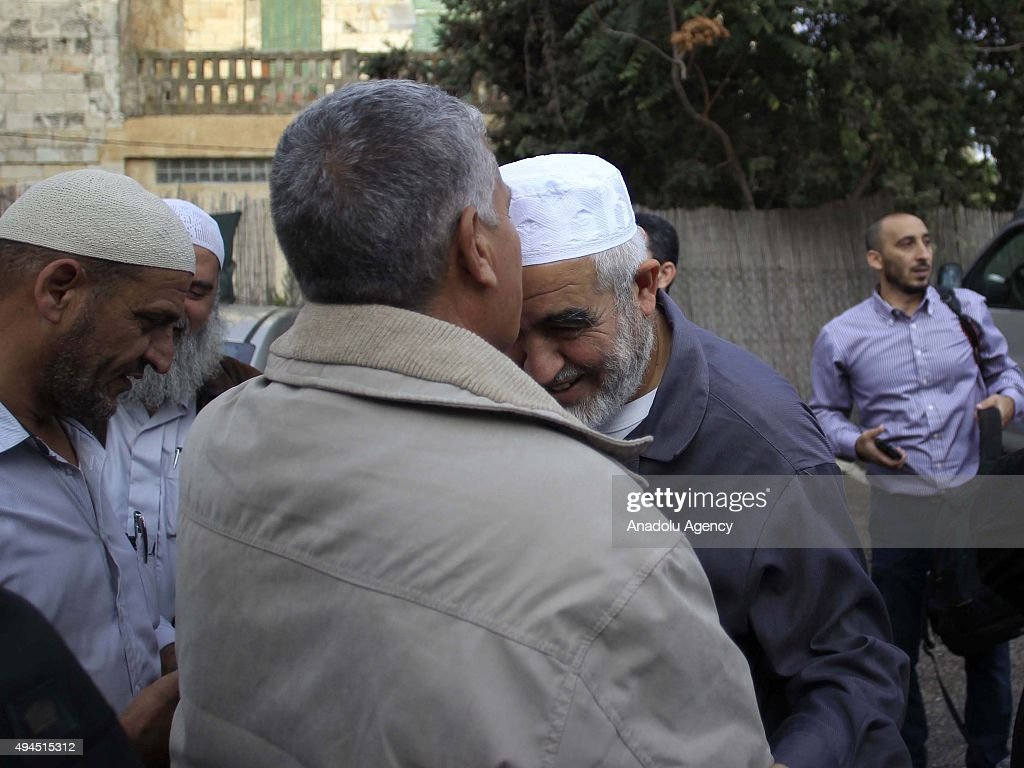 <a gi-track='captionPersonalityLinkClicked' href=/galleries/search?phrase=Sheikh+Raed+Salah&family=editorial&specificpeople=2108548 ng-click='$event.stopPropagation()'>Sheikh Raed Salah</a> (right), the leader of Islamic movement in the 1948 Palestine, are seen with the Palestinians supporting him after attending trial at the Jerusalem Regional Court on October 27, 2015. An Israeli court has sentenced <a gi-track='captionPersonalityLinkClicked' href=/galleries/search?phrase=Sheikh+Raed+Salah&family=editorial&specificpeople=2108548 ng-click='$event.stopPropagation()'>Sheikh Raed Salah</a> to 11 months in jail on charges of 'incitement'.