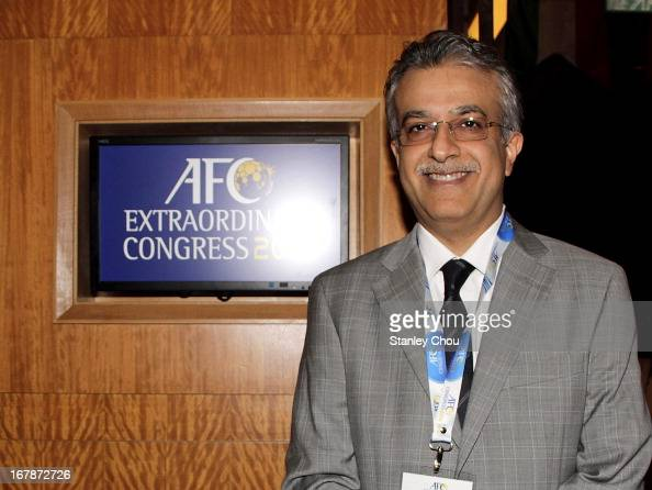 Sheikh Salman Bin Ebrahim Al Khalifa of Bahrain poses after he was elected as the 11th President of the Asian Football Confederation during the 2013...