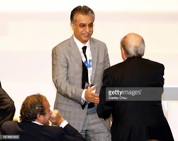 Sheikh Salman Bin Ebrahim Al Khalifa of Bahrain shake hands with Joseph Sepp Blatter FIFA President after he was elected as the 11th President of the...