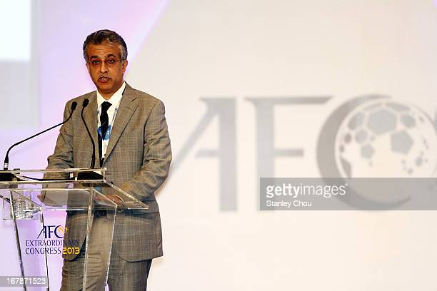 Sheikh Salman Bin Ebrahim Al Khalifa of Bahrain speaks at the Congress after he was elected as the 11th President of the Asian Football Confederation...