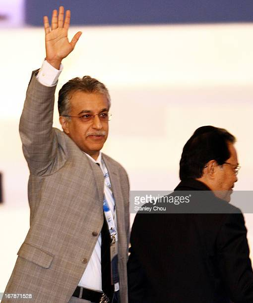 Sheikh Salman Bin Ebrahim Al Khalifa of Bahrain waives to members of the Congress after he was elected as the 11th President of the Asian Football...