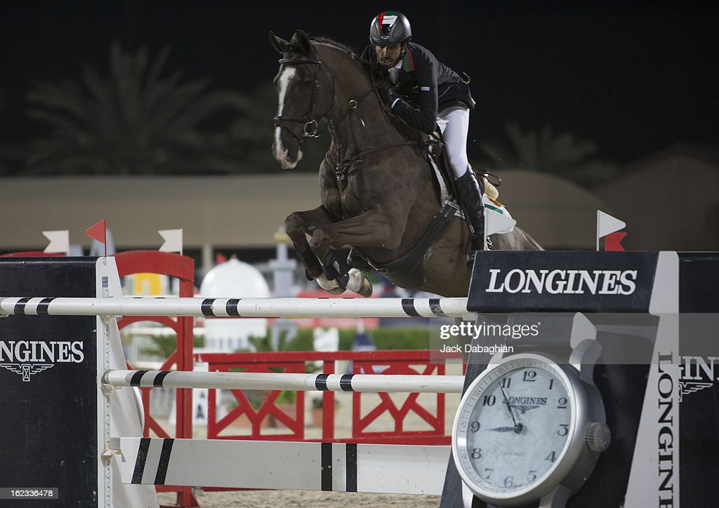 Sheikh Shakboot Al Nahyan of the UAE clears a hurdle on Valentino Balia during the President of the UAE Showjumping Cup - Furusyiah Nations Cup Series presented by Longines on February 21, 2013 in Al Ain, United Arab Emirates.