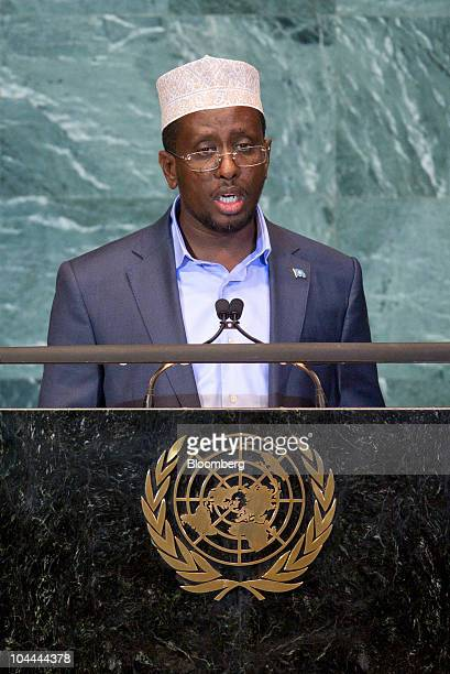 Sheikh Sharif Sheikh Ahmed president of Somalia speaks during the 65th annual United Nations General Assembly at the UN in New York US on Saturday...