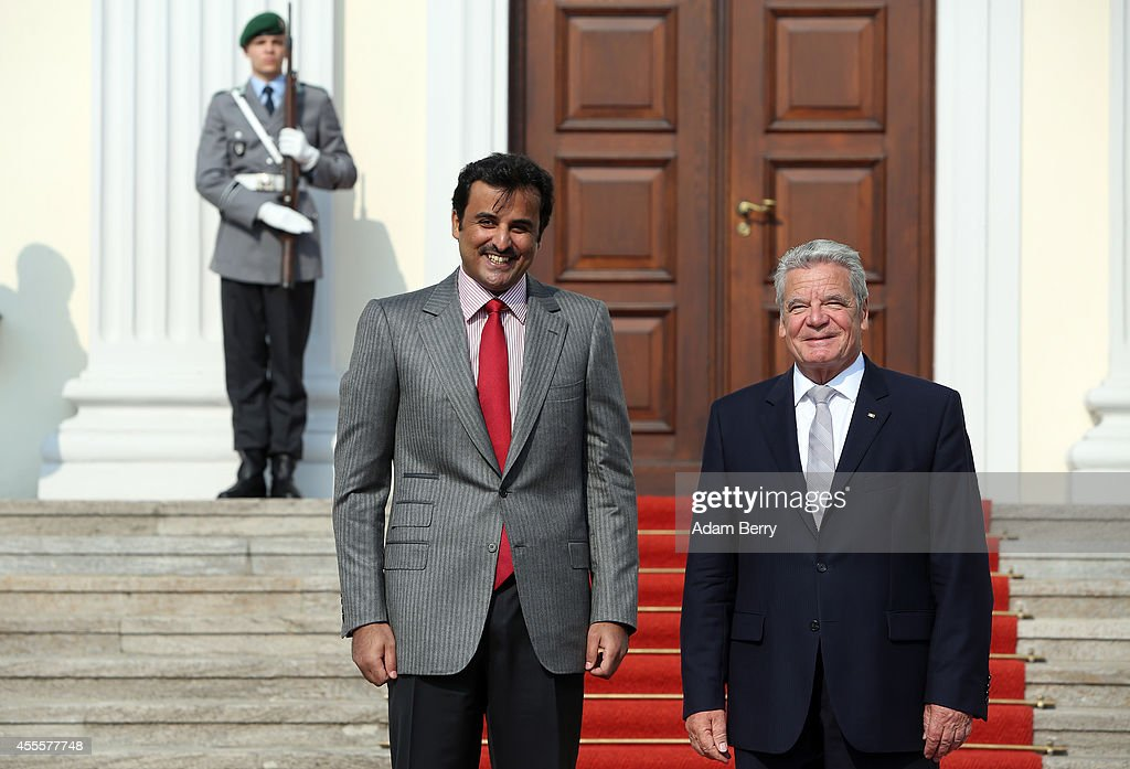 Sheikh Tamim bin Hamad Al Thani, the eighth and current Emir of the State of Qatar, meets with German President Joachim Gauck at Bellevue Palace on September 17, 2014 in Berlin, Germany. The Qatari monarch, known for his support of sporting events and his position as head of the Qatar Investment Authority board of directors, is visiting Berlin and Bavaria on his trip to the country.